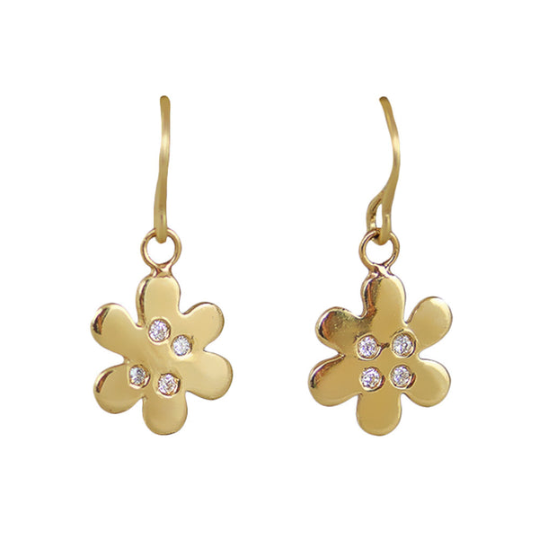 Baby Daisy Hanging Earrings with diamonds - Lauren Sigman Collection