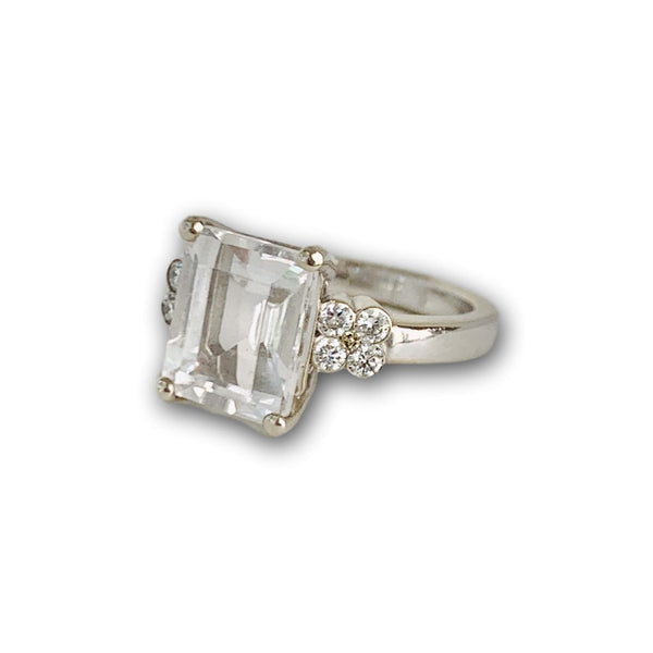 Emerald Cut White Topaz & Diamond Flower Ring in White Gold - Lauren Sigman Collection