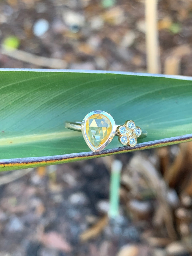 Pear Cut Bezel Set Yellow Sapphire Ring - Lauren Sigman Collection