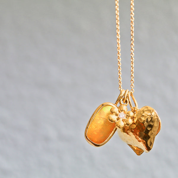 Opal, heart and flower charm necklace - Lauren Sigman Collection
