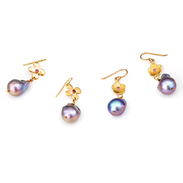 Gray Tahitian Pearl Earrings - Lauren Sigman Collection