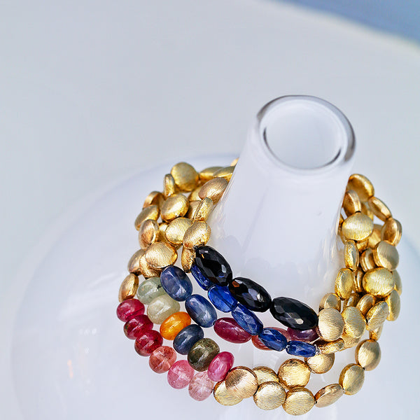 Sapphire and Gold Beaded Bracelets - Lauren Sigman Collection