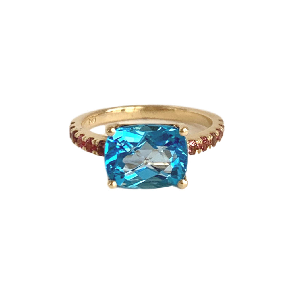 Cushion Cut London Blue Topaz with Pink Sapphire Band - Lauren Sigman Collection