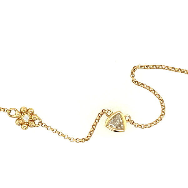 Trillion Diamond & Flower Necklace