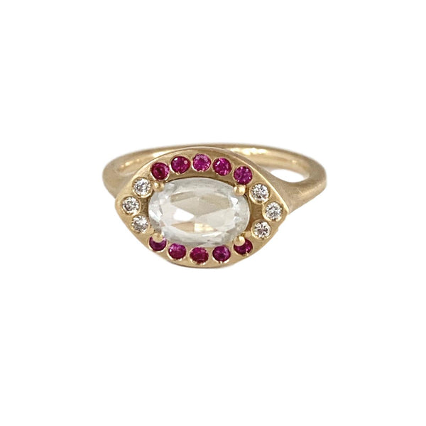 Azalea Pave Ring with Diamonds & Pink Sapphires - Lauren Sigman Collection