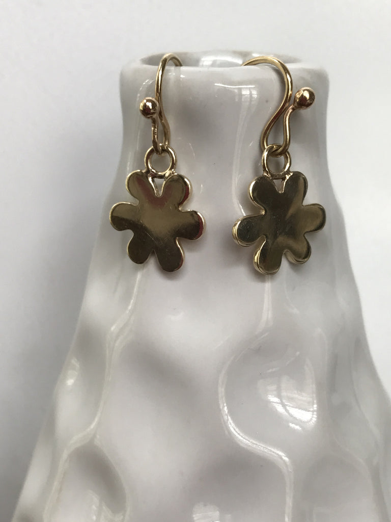 Baby Daisy Hanging Earrings/Plain or Diamonds - Lauren Sigman Collection