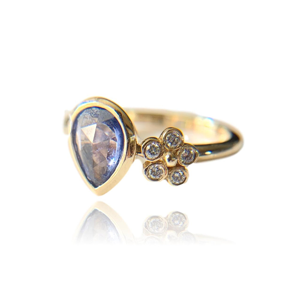 Pear Cut Bezel Set Blue Sapphire Ring - Lauren Sigman Collection
