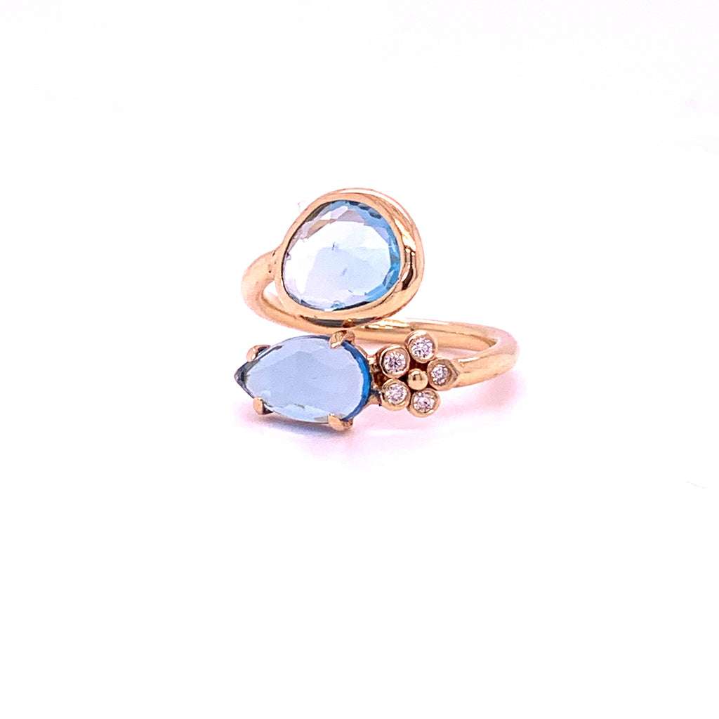 Blue Topaz & Diamond flower Split Ring - Lauren Sigman Collection