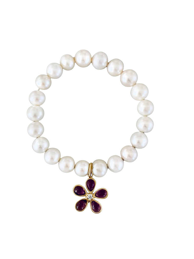 Pearl Bracelet with Orchid Pendant - Lauren Sigman Collection