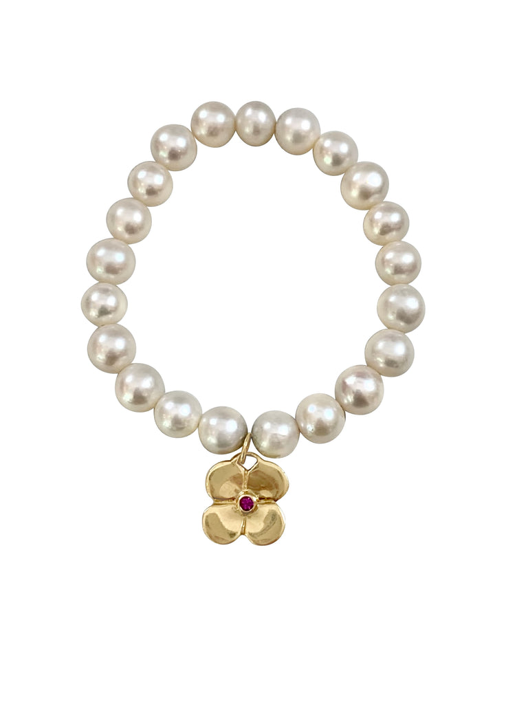 Pearl Bracelet with Puffy Pink Flower/14K - Lauren Sigman Collection