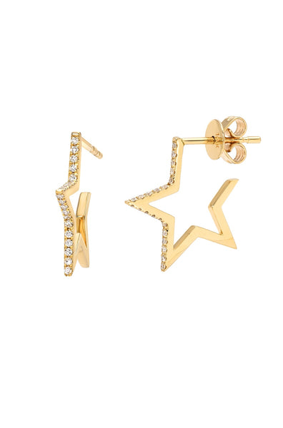 Diamond Open Star Stud Earrings - Lauren Sigman Collection