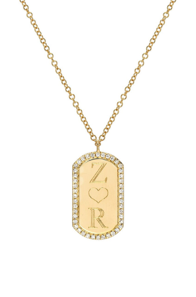 Diamond Dog Tag Necklace - Lauren Sigman Collection