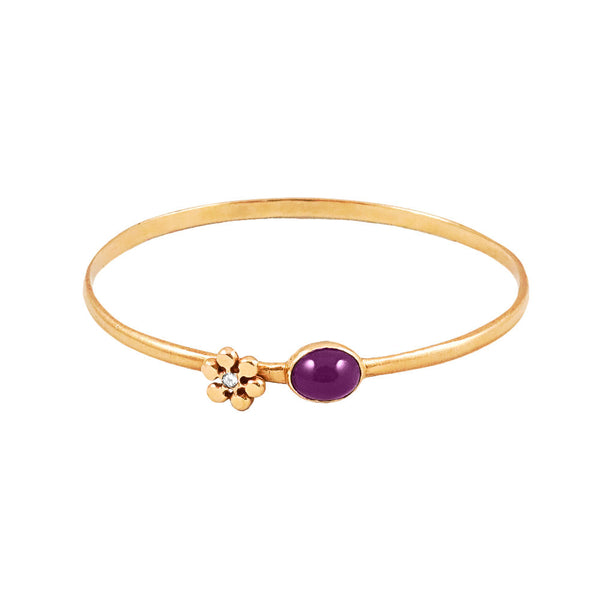 Diamond Flower Bangle with Amethyst - Lauren Sigman Collection