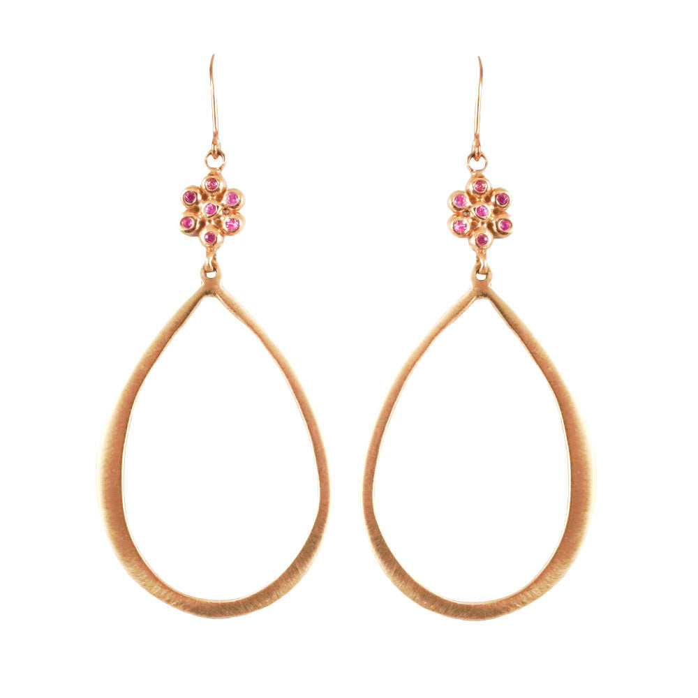 LSJ Hoops Earrings/Pink Sapphires - Lauren Sigman Collection