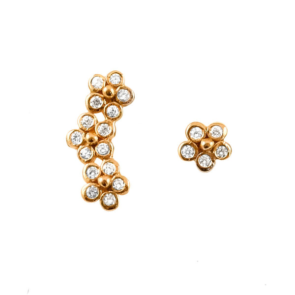14K Diamond Flower Ear Climber and Stud - Lauren Sigman Collection
