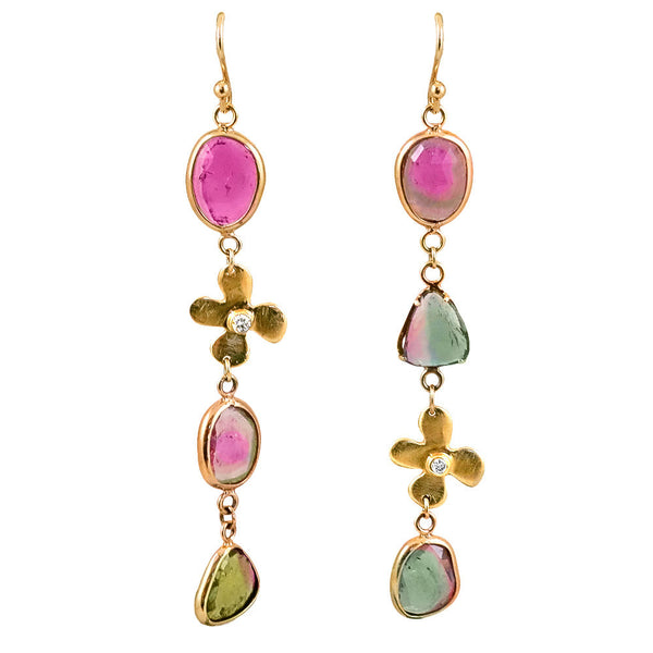 14K Rainbow Tourmaline and Lily Diamond Earrings - Lauren Sigman Collection