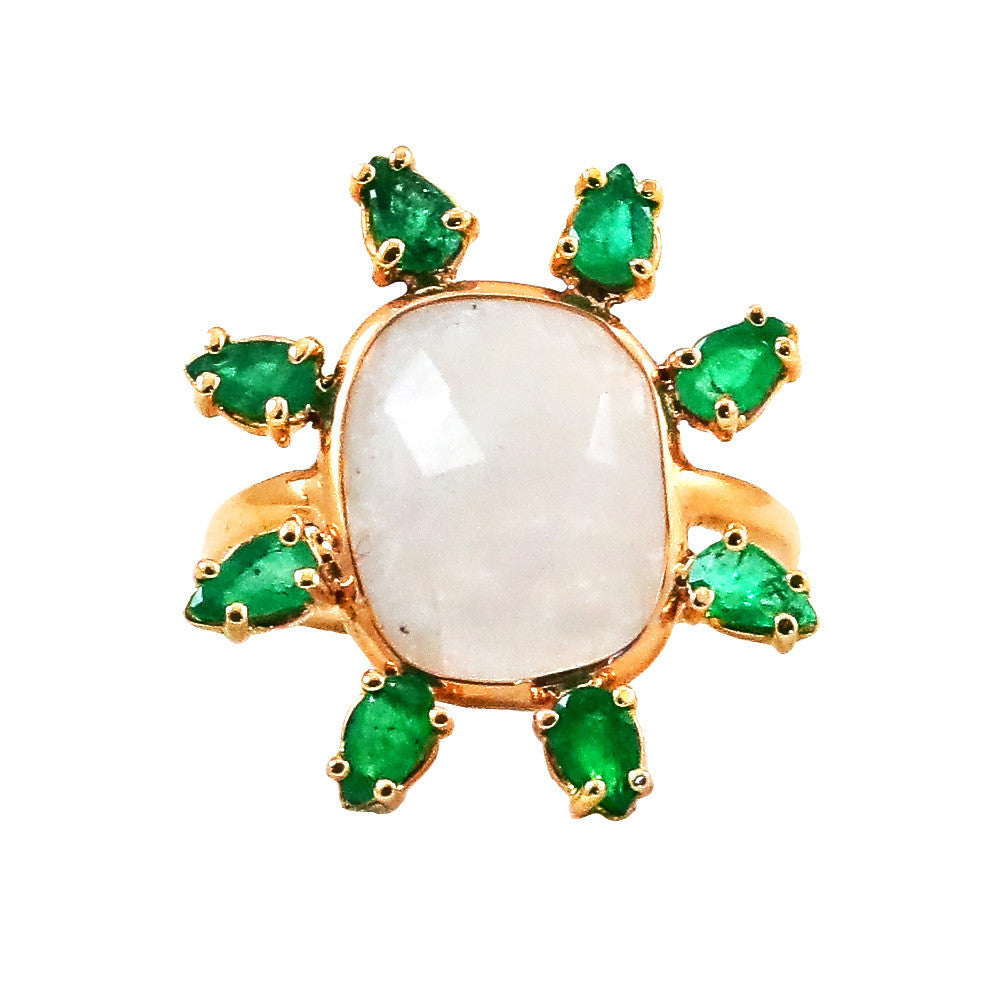 Moonstone & Emerald Gemstones Ring - Lauren Sigman Collection