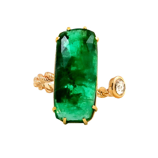 Emerald and Rose Cut Diamond Ring - Lauren Sigman Collection
