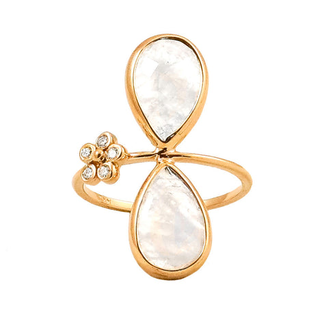 Double Pear/Moonstone flower ring - Lauren Sigman Collection