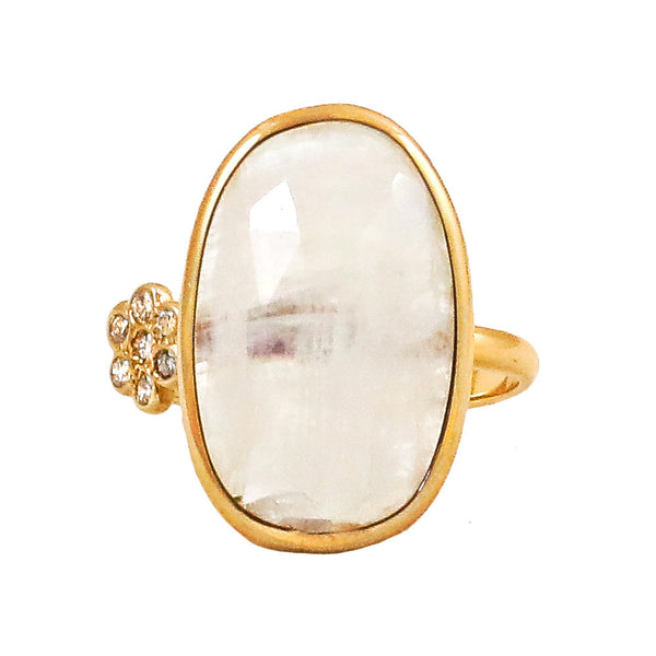 Moonstone Flower Diamond Ring - Lauren Sigman Collection