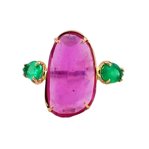 Pink Tourmaline & Pear Emeralds - Lauren Sigman Collection