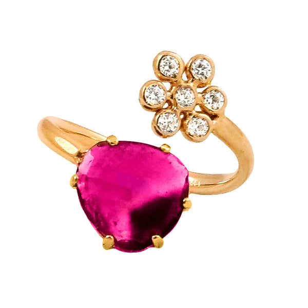 Tourmaline and Diamond Flower Split Ring - Lauren Sigman Collection