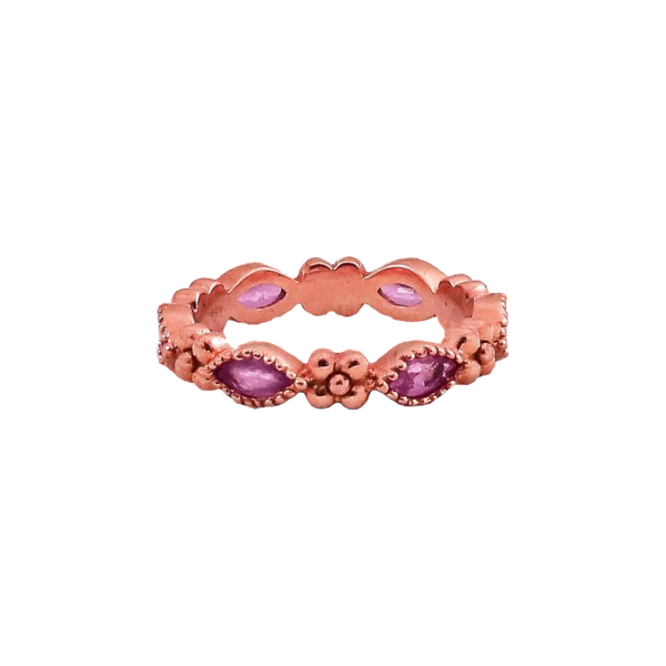 Iris Marquis Band in 18k Gold with Pink Sapphires - Lauren Sigman Collection