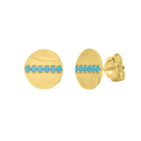 Gold & Turquoise Button Stud Earrings - Lauren Sigman Collection
