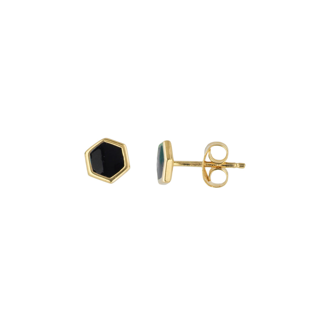 Black Enamel Hexagon Stud Earrings - Lauren Sigman Collection
