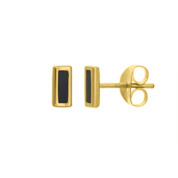 Black Enamel Bar Stud Earrings - Lauren Sigman Collection