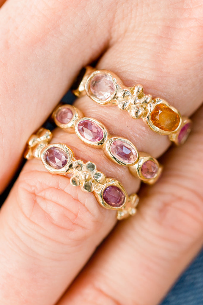 Oval Magnolia Band with Rainbow Sapphires - Lauren Sigman Collection