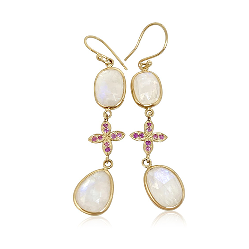 Moonstone & Pink Sapphire Sarah Lily connectors - Lauren Sigman Collection
