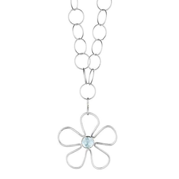 Long Sunflower Blue Topaz Necklace - Lauren Sigman Collection