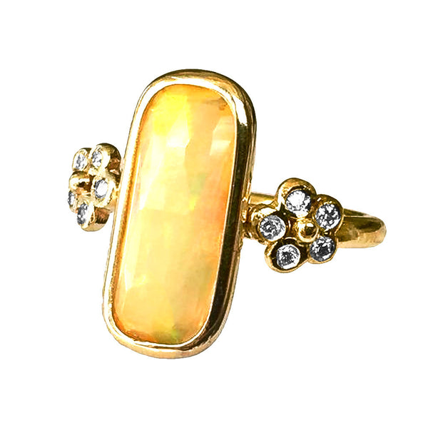 Double Flower and Opal Ring - Lauren Sigman Collection