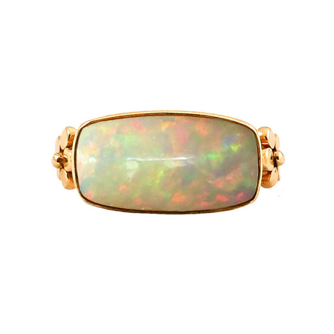 Ethiopian Opal and Flower Ring - Lauren Sigman Collection