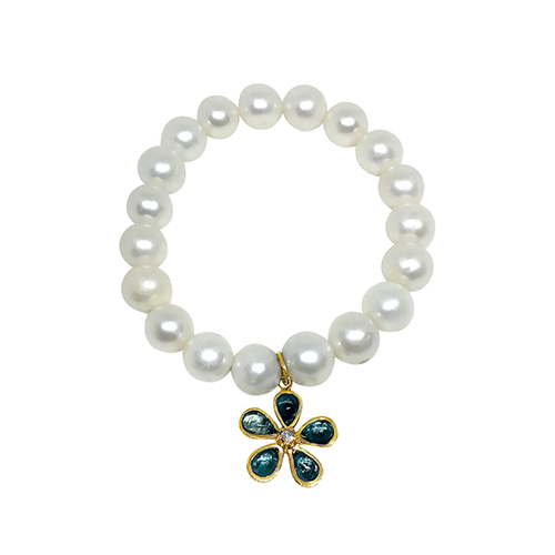 Pearl  Blue Topaz Orchid Charm Bracelet - Lauren Sigman Collection