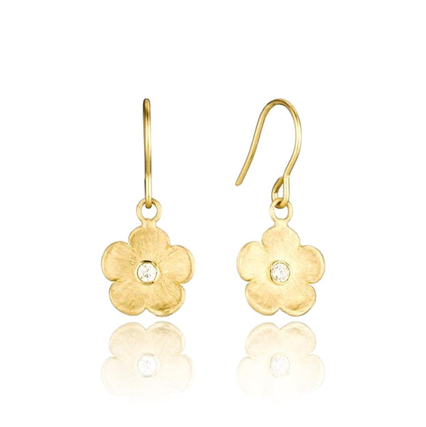 Petunia Hanging Earrings with single diamond - Lauren Sigman Collection