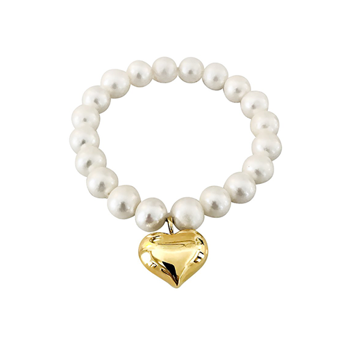 Puffy Heart Pearl Bracelet - Lauren Sigman Collection