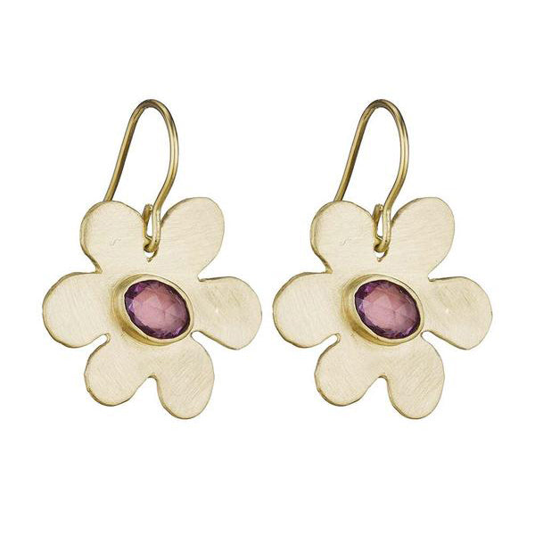 Daisy Earrings with Pink Sapphire - Lauren Sigman Collection