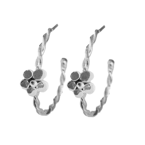 Silver Twisted Flower Hoops - Lauren Sigman Collection