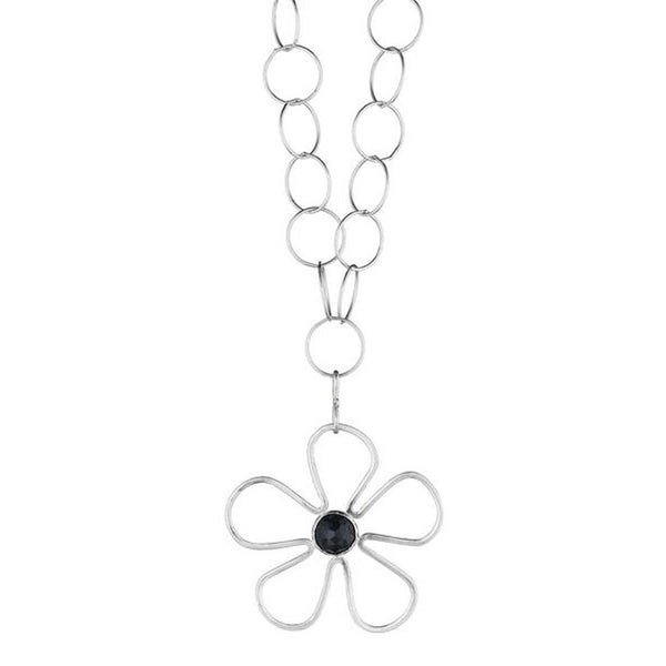 Long Sunflower Black Spinel Necklace - Lauren Sigman Collection