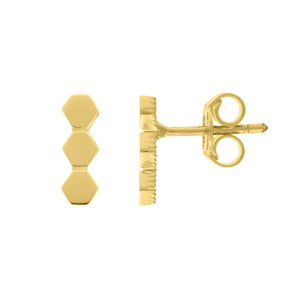 Hexagon Gold Bar Stud Earrings - Lauren Sigman Collection