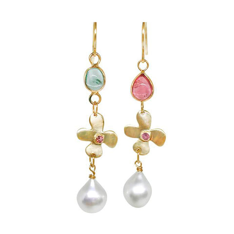 Sapphire Lily, Tourmaline and pearl earrings - Lauren Sigman Collection