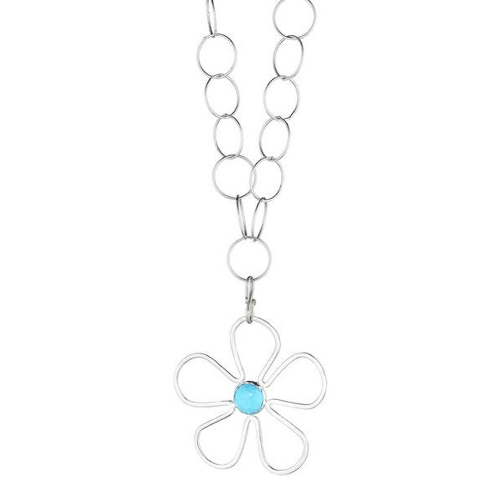 Sunflower Gemstone Necklace in Silver - Lauren Sigman Collection