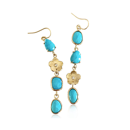 Turquoise & Diamond Orchid Hanging Earrings - Lauren Sigman Collection