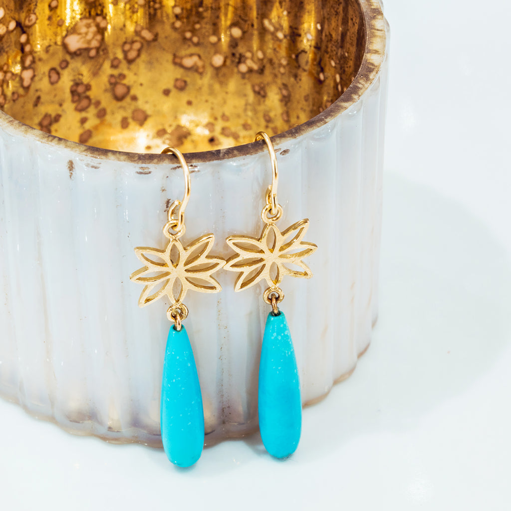 Turquoise Logo Earrings - Lauren Sigman Collection