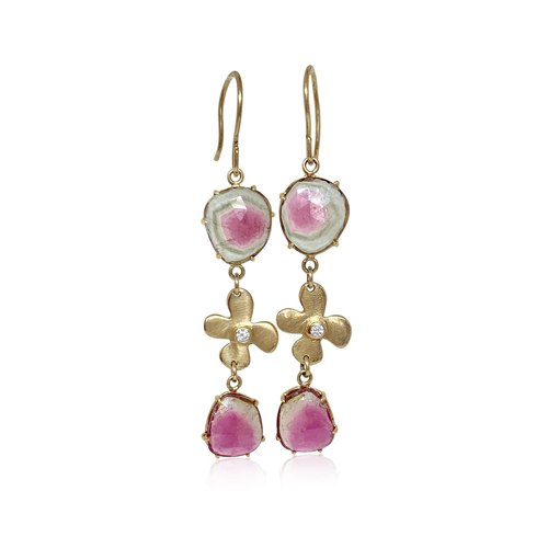 Watermelon Tourmaline & Lily Diamond earrings - Lauren Sigman Collection