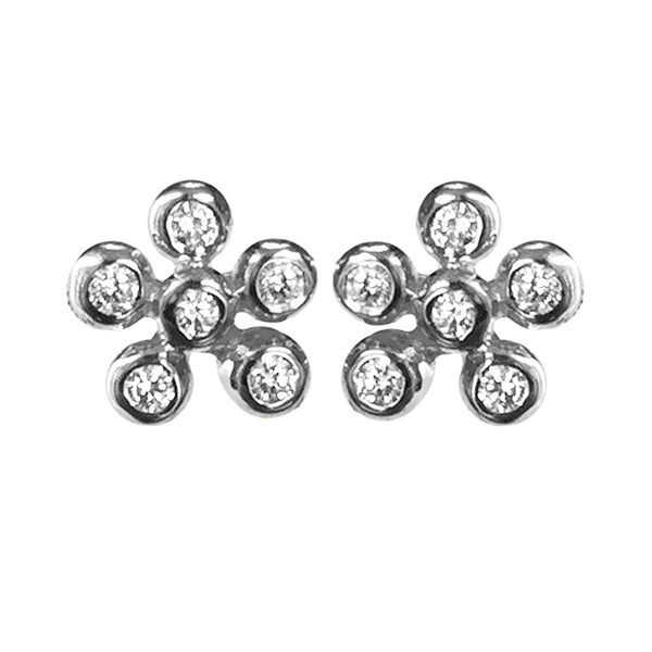 White Gold Clover Diamond Stud Earrings - Lauren Sigman Collection