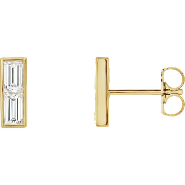 Baguette Diamond Bar Earrings - Lauren Sigman Collection