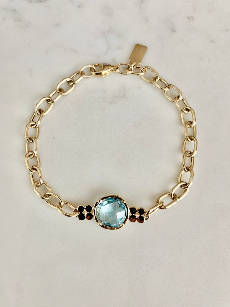 Gemstone Flower Chain Bracelet-Blue Topaz - Lauren Sigman Collection